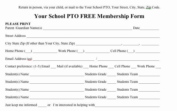 Booster Club Membership form Template New Free Pto Membership form to Send Out to Parents From the