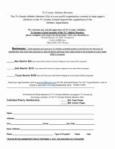 Booster Club Membership form Template New Tri County Public Schools Tri County athletic Boosters