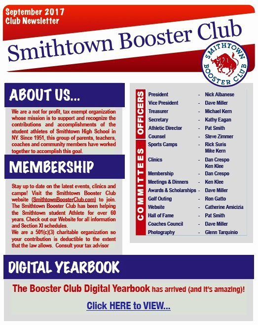 Booster Club Membership form Template Unique Smithtown Booster Club