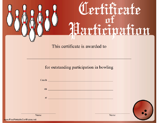 Bowling Certificate Template Free Awesome Bowling Participation Certificate Printable Certificate