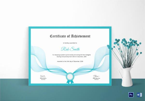 Bowling Certificate Template Free Beautiful Bowling Certificate 5 Word Psd format Download