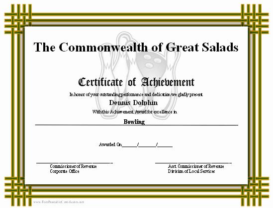 Bowling Certificate Template Free Elegant Certificate Of Achievement Bowling Printable Certificate