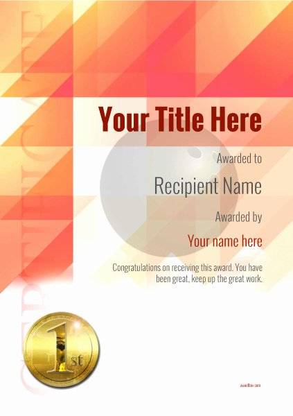 Bowling Certificate Template Free Elegant Free Ten Pin Bowling Certificate Templates Inc Printable