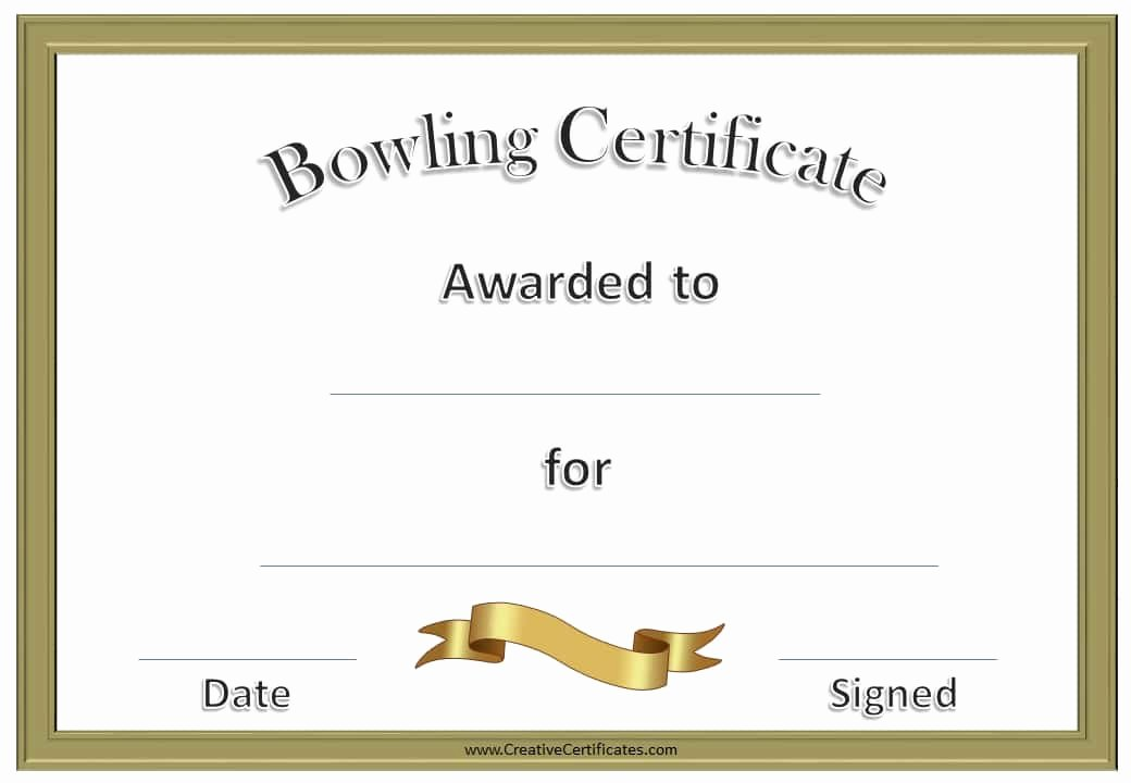 Bowling Certificate Template Free Inspirational Free Bowling Certificate Template