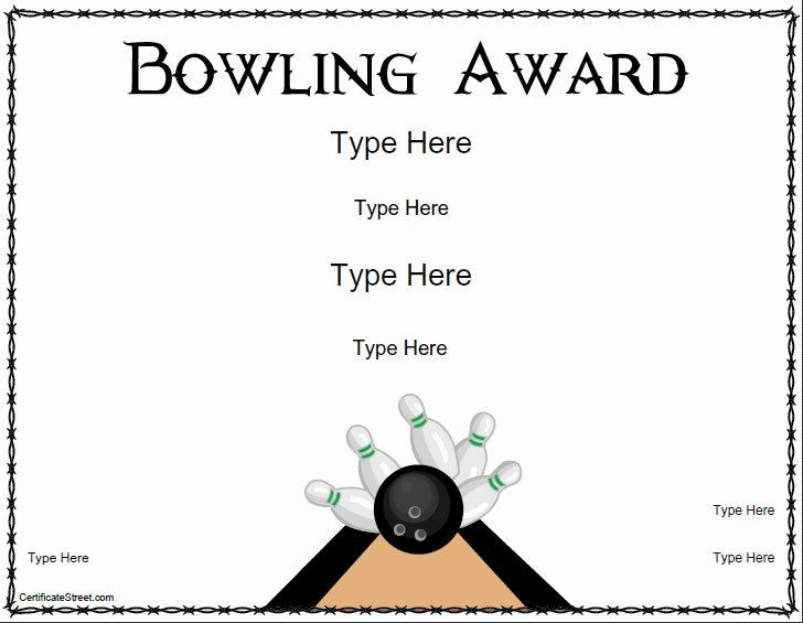 Bowling Certificate Template Free Lovely Blank Certificates Bowling Award Certificate Template