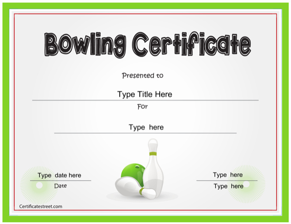 Bowling Certificate Template Free Lovely Download Bowling Certificate Template for Free formtemplate