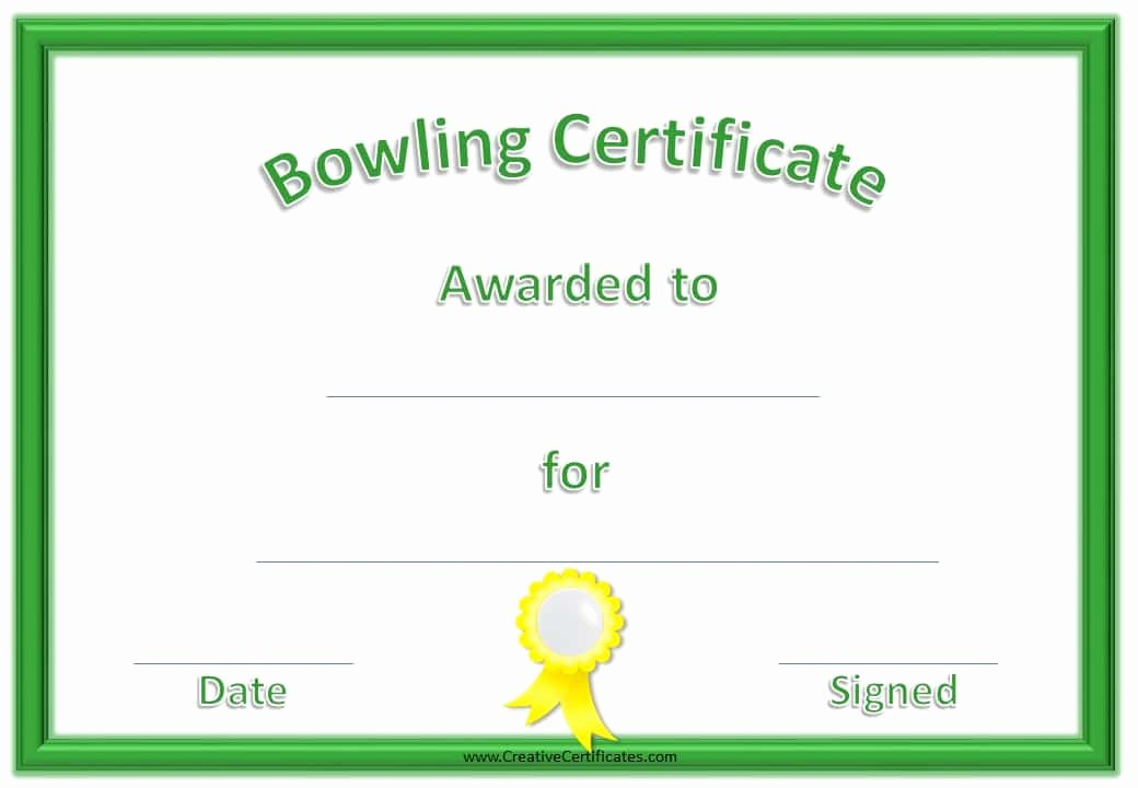 Bowling Certificate Template Free Lovely Free Bowling Certificate Template