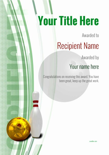 Bowling Certificate Template Free Luxury Free Ten Pin Bowling Certificate Templates Inc Printable