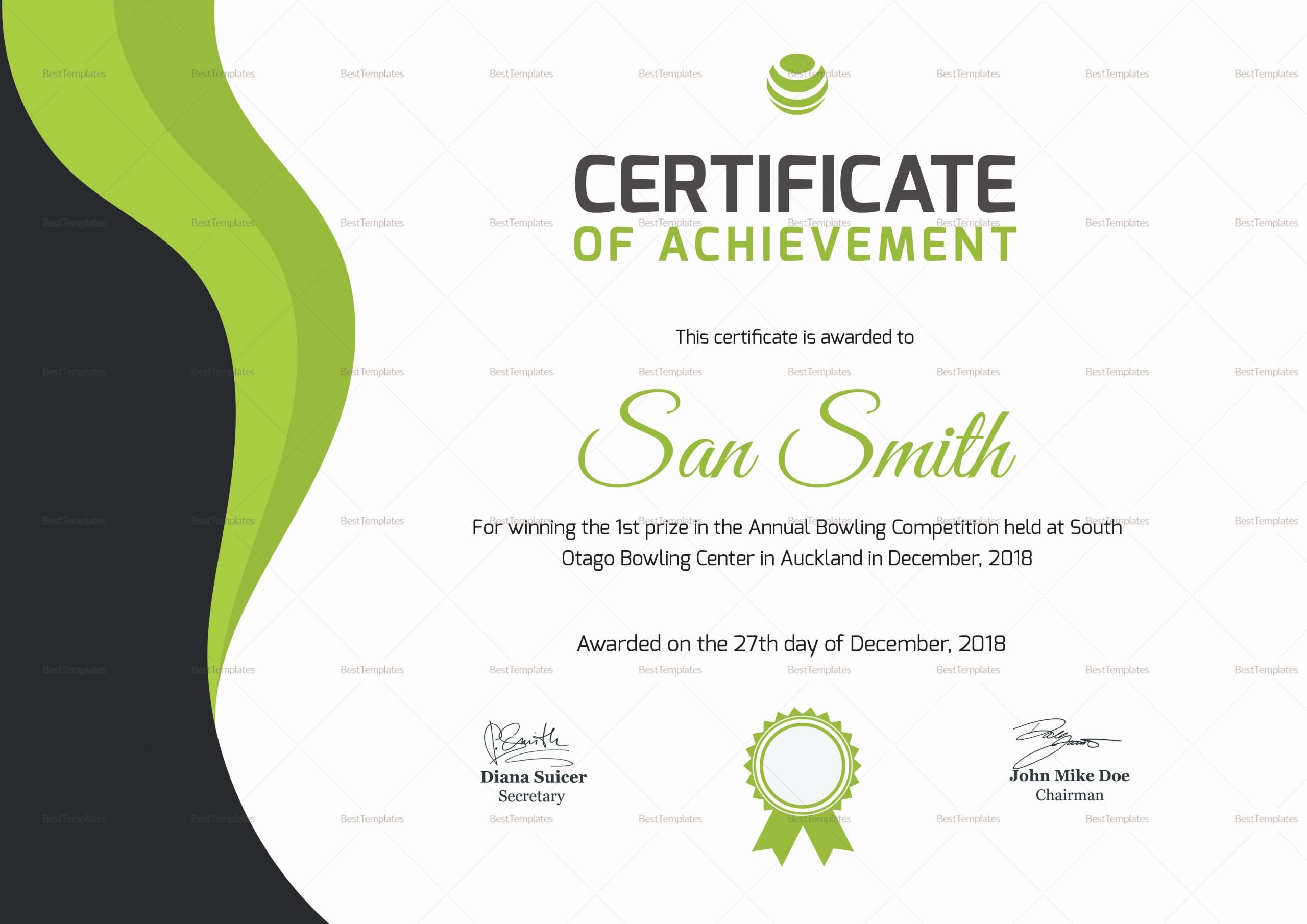 Bowling Certificate Template Free Luxury Simple Bowling Award Certificate Design Template In Psd Word