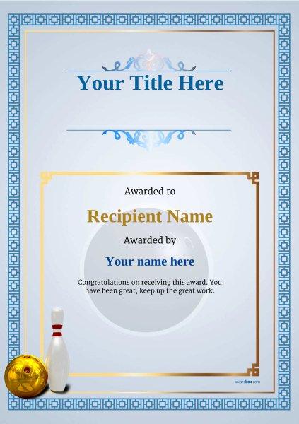 bowling certificates