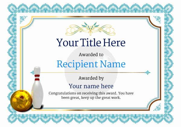 Bowling Certificate Templates Free Beautiful Free Ten Pin Bowling Certificate Templates Inc Printable