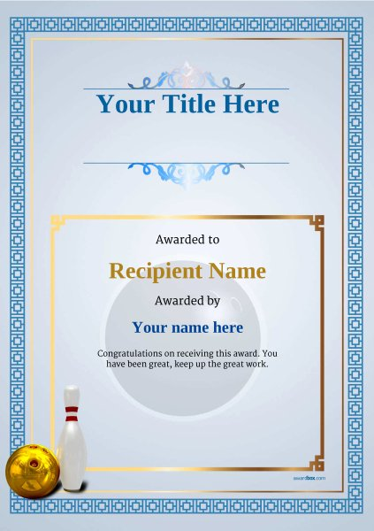 Bowling Certificate Templates Free Unique Free Ten Pin Bowling Certificate Templates Inc Printable