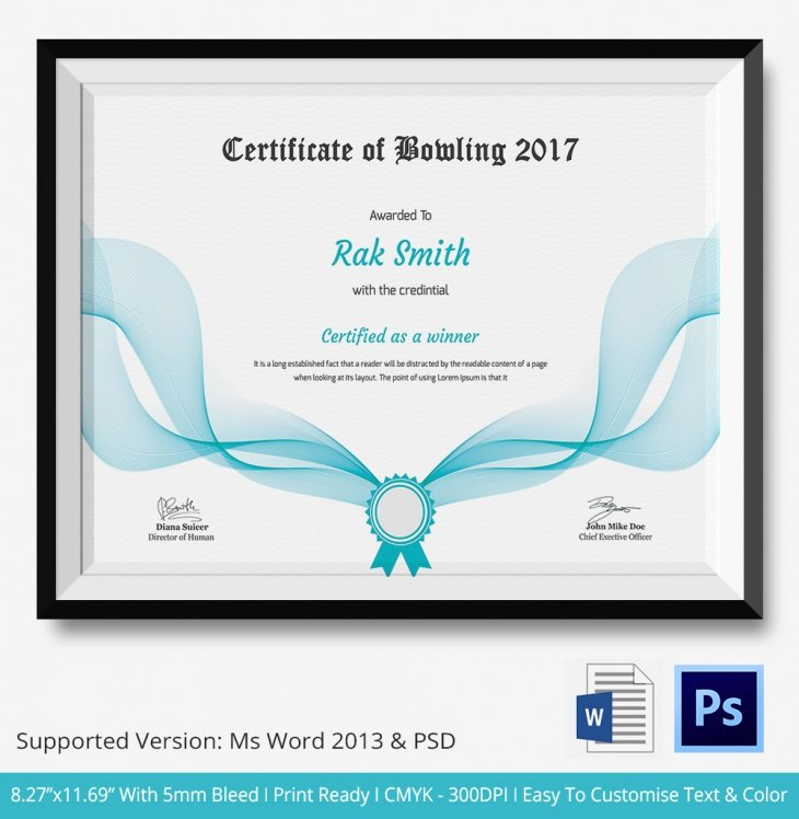Bowling Certificates Template Free Awesome 5 Bowling Certificates Psd & Word Designs