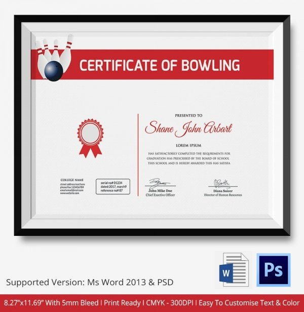 Bowling Certificates Template Free Beautiful Bowling Certificate 5 Word Psd format Download