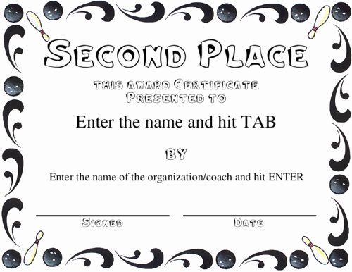 Bowling Certificates Template Free Fresh Second Prize Certificates