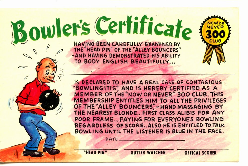 Bowling Certificates Template Free Lovely Man Bowler Certificate 300 Club Bowling Sport Humor Ic