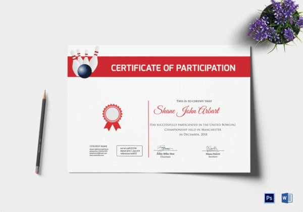 Bowling Certificates Template Free Unique Bowling Certificate 5 Word Psd format Download