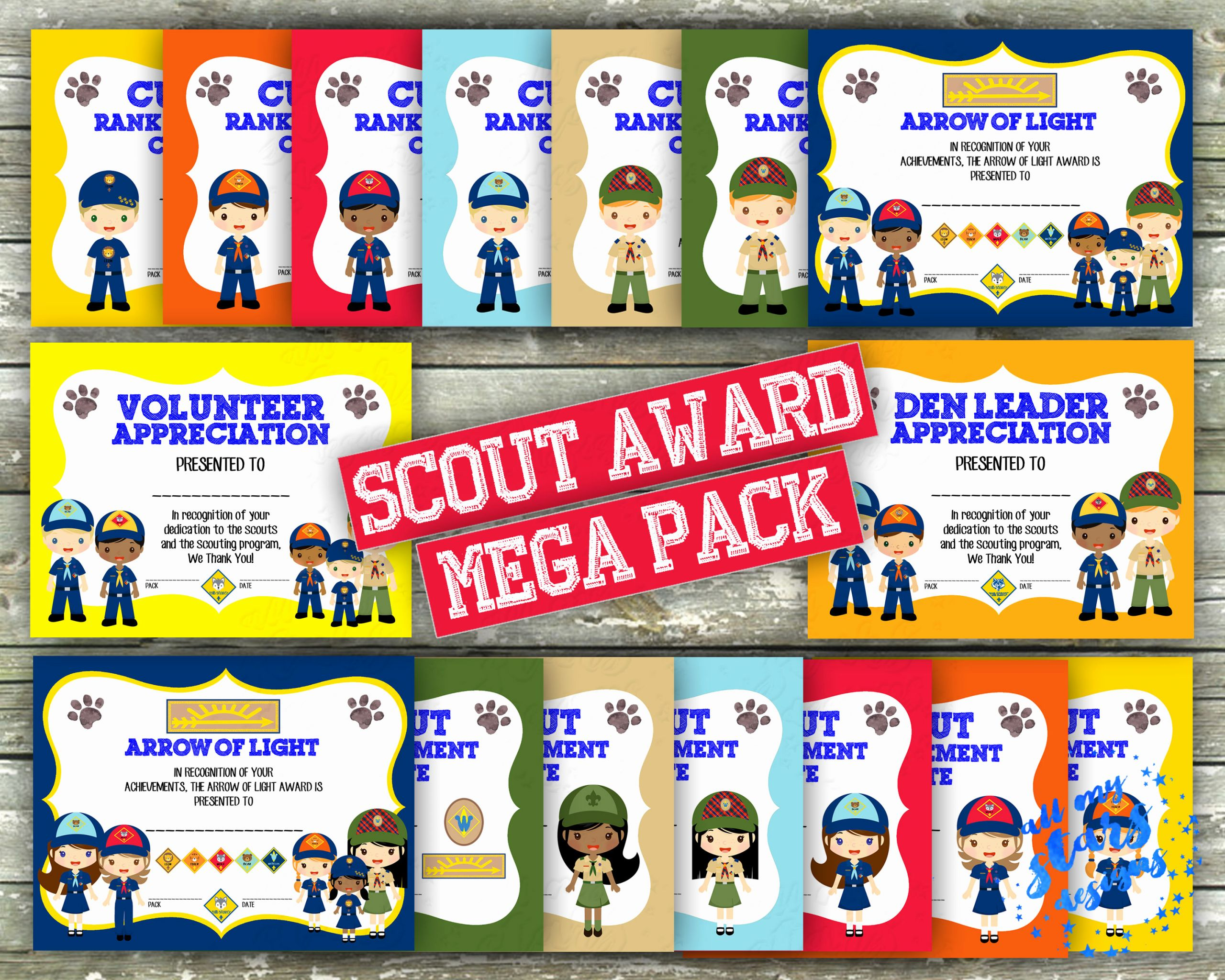 Boy Scout Certificate Of Appreciation Awesome New Cub Scout Rank Advancement Mega Certificate Pack 32