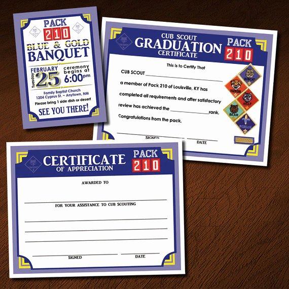 Boy Scout Certificate Of Appreciation Beautiful Custom Cub Scout Blue & Gold or Graduation Invitation