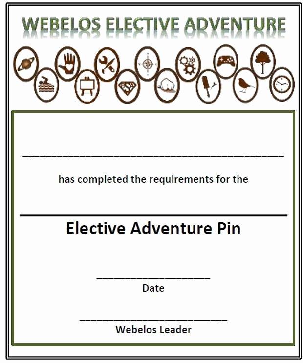 Boy Scout Certificate Of Appreciation Beautiful Webelos Electives Certificate