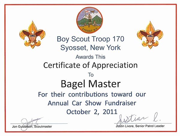Boy Scout Certificate Of Appreciation Elegant Certificates & Recognitions Bagel Master Long island S
