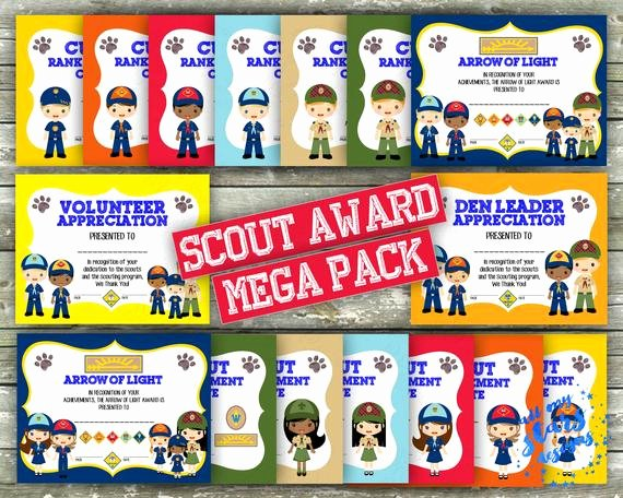 Boy Scout Certificate Of Appreciation Fresh New Cub Scout Rank Advancement Mega Certificate Pack 32