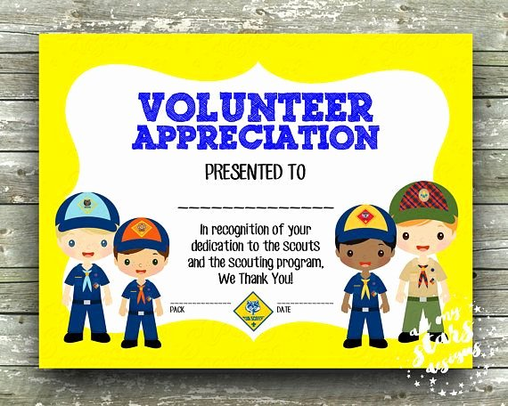"Boy Scout Certificate Of Appreciation Luxury Cub Scout Boys Volunteer Appreciation Award 8 5""x11"