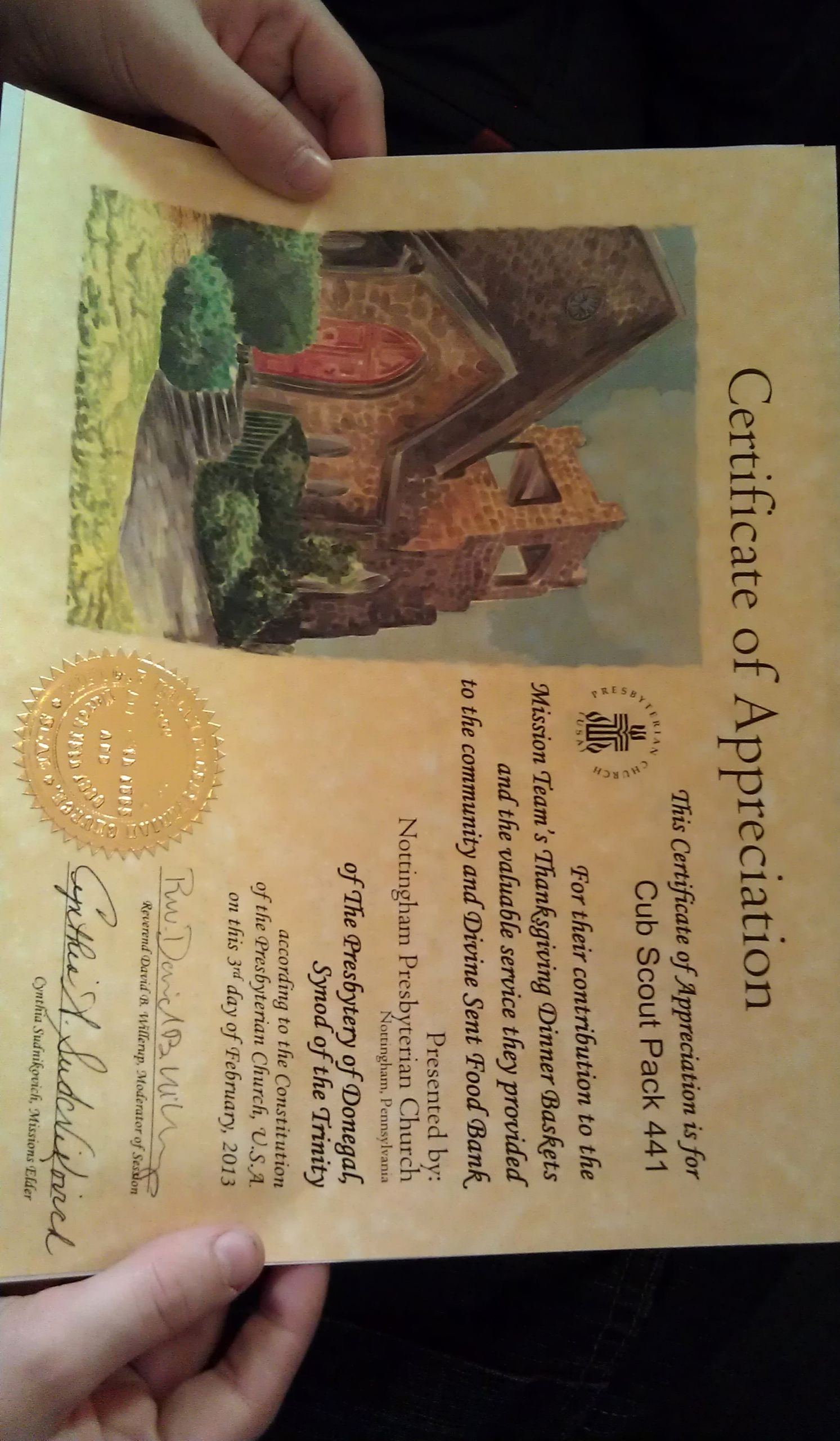 Boy Scout Certificate Of Appreciation New Nottingham Presbyterian Church Cub Pack