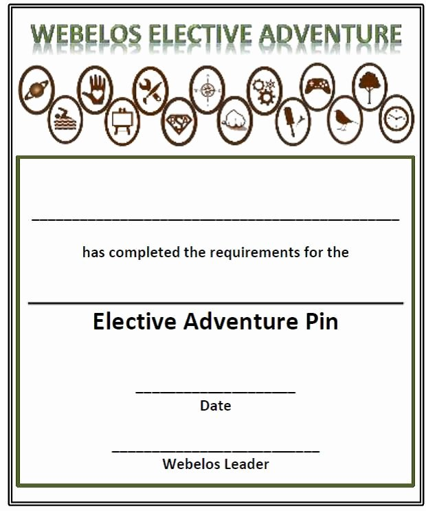 Boy Scout Certificate Of Appreciation Templates Awesome Webelos Electives Certificate