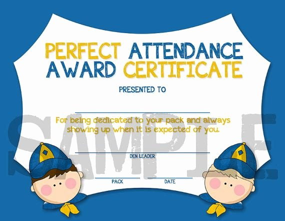 Boy Scout Certificate Of Appreciation Templates Fresh Cub Scouts Perfect attendance Award Certificate Instant