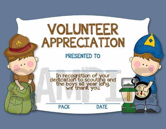 Boy Scout Certificate Of Appreciation Templates Inspirational Cub Scouts Boy Scouts Volunteer Appreciation Certificate