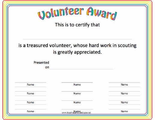 Boy Scout Certificate Template Awesome This Volunteer Award Certificate is A Great Thank You for