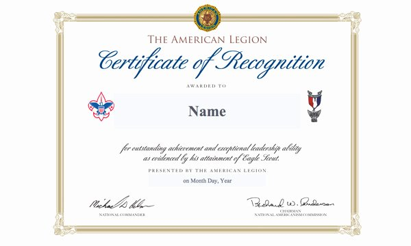 Boy Scout Certificate Template Best Of Legion Awards Eagle Scout Of the Year to Tennessee Youth