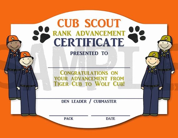 Boy Scout Certificate Template Best Of Rank Advancement Certificate Tiger Cub to by