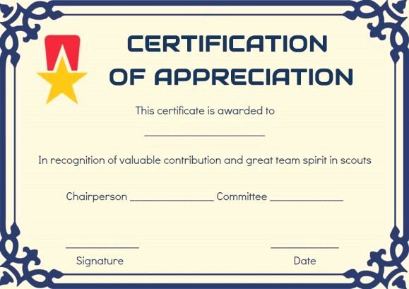 Boy Scout Certificates Templates Lovely Scout Certificate Appreciation Template