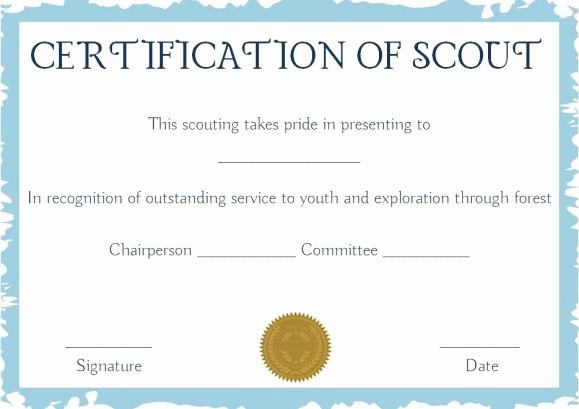 Boy Scout Certificates Templates Lovely Scout Certificates Template