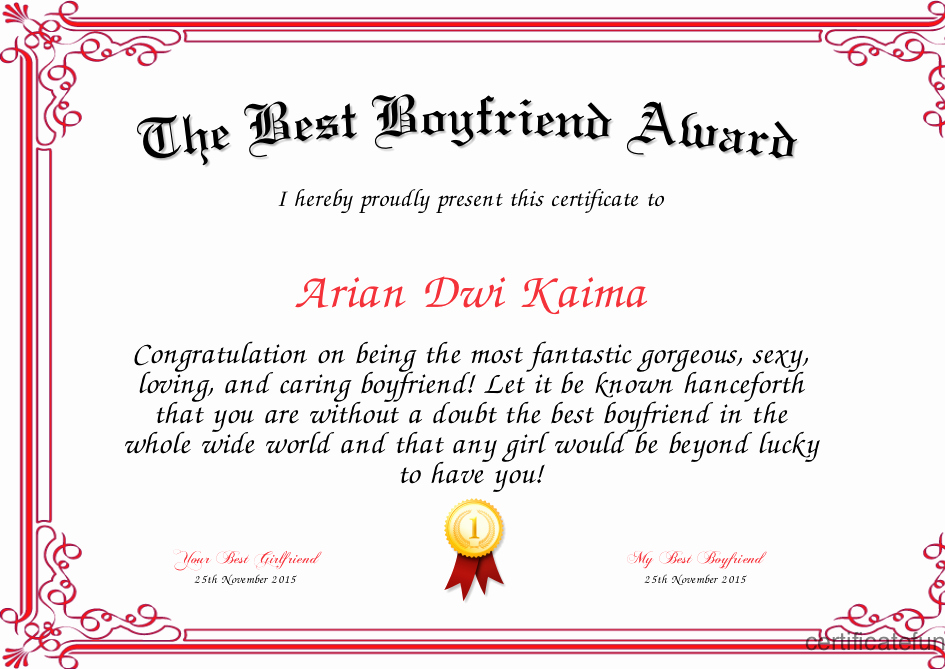 Boyfriend Of the Year Award Elegant the Best Boyfriend Award Certificate