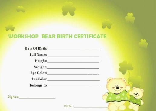 Build A Bear Birth Certificate Pdf Inspirational top 37 Unusual Printable Build A Bear Certificate