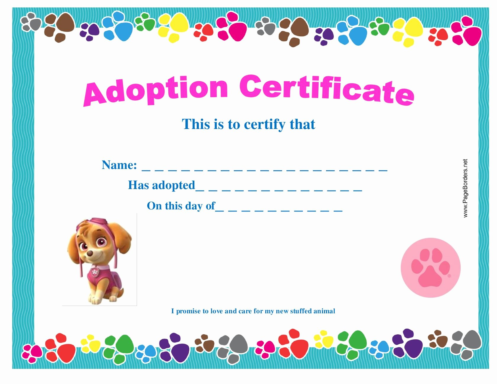 Build A Bear Birth Certificate Template Best Of Paw Patrol – Adopt A Pup Party
