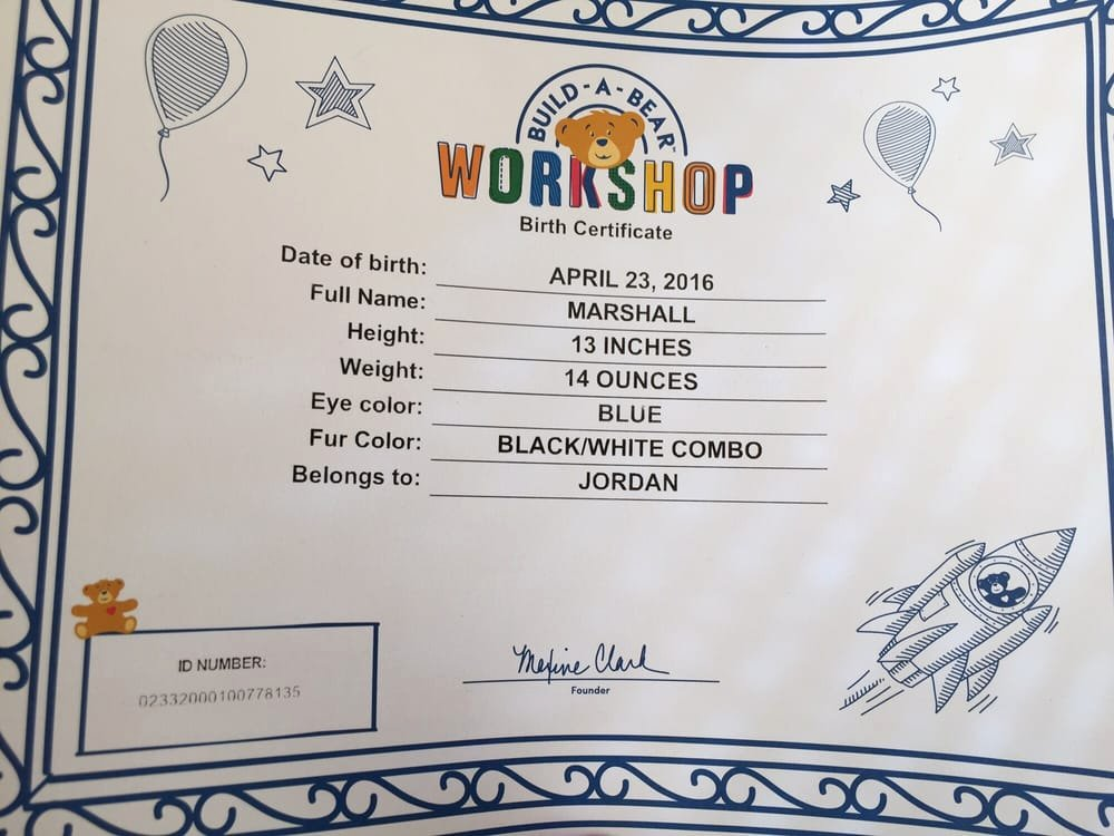Build A Bear Birth Certificate Template Fresh Marshals Birth Certificate Yelp