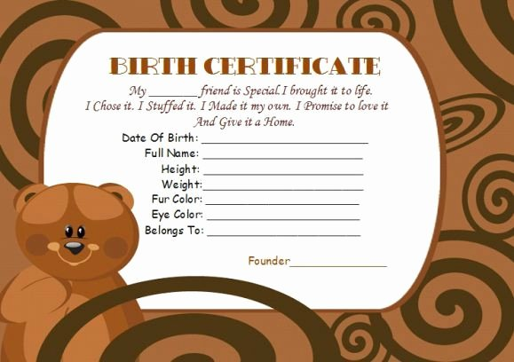 Build A Bear Birth Certificate Template Lovely Bear Build Birth Certificate