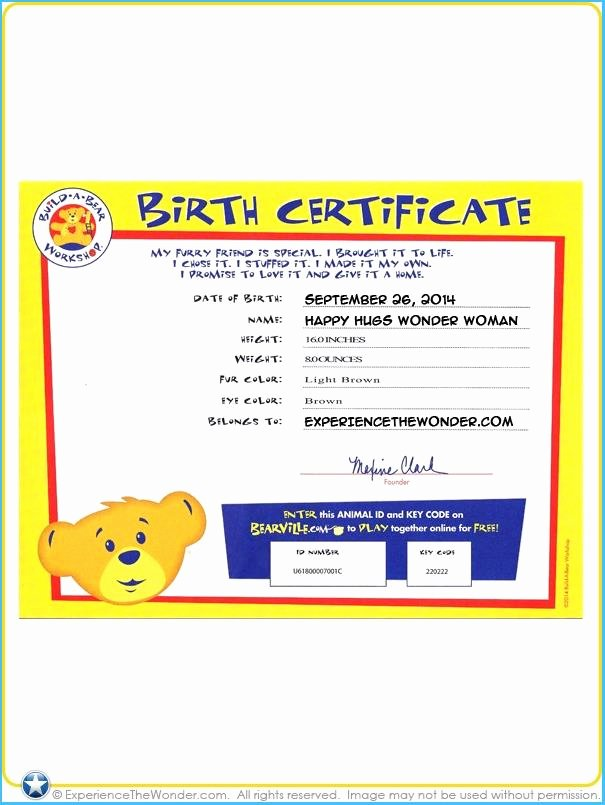 Build A Bear Birth Certificate Template Unique Build A Bear Certificate Template 8877