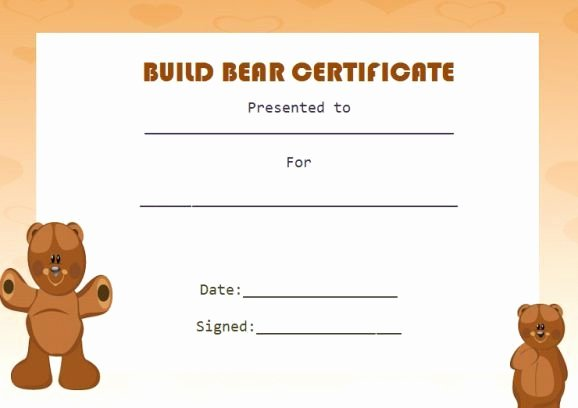 Build A Bear Certificate Maker Elegant Build Bear Template
