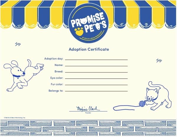 Build A Bear Certificate Maker Lovely Adoption Certificate