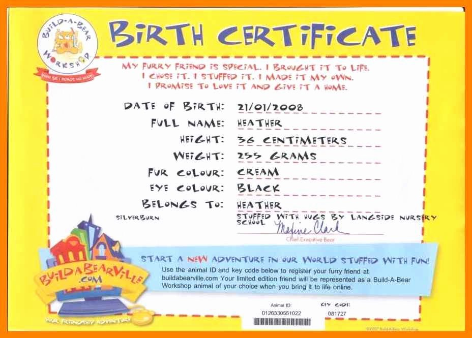 Build A Bear Certificate Maker Unique 5 Easy Birth Certificate