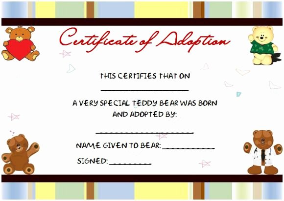 Build A Bear Certificate Template Awesome Adopt A Teddy Bear &sy56 – Advancedmassagebysara