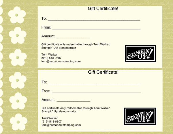 Build A Bear Certificate Template Inspirational Stampin Up Gift Certificates Nutz About Stamping