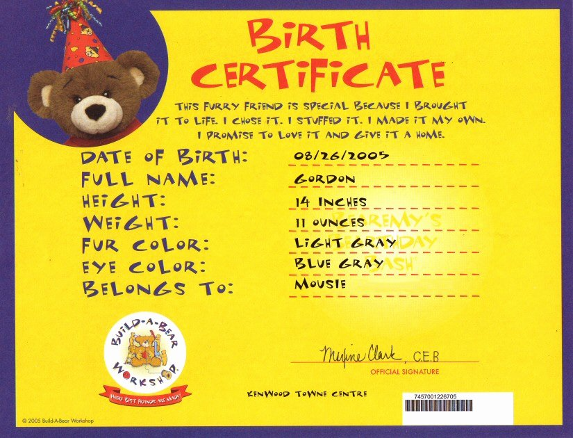 Build A Bear Certificate Template Lovely 7 Build A Bear Birth Certificate Template Birth