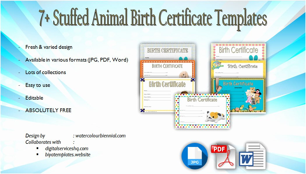 Build A Bear Certificate Template New Stuffed Animal Birth Certificate Templates [7 Adorable