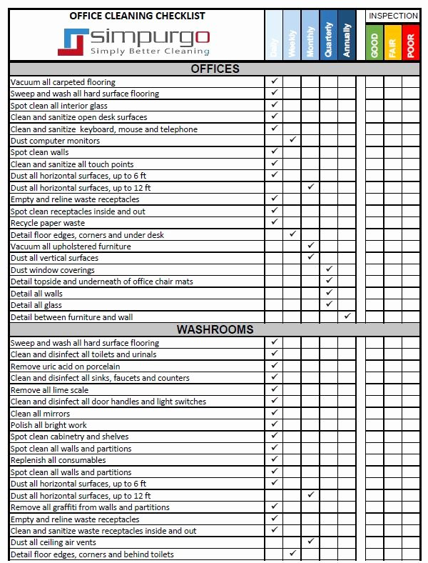 office cleaning checklist and inspection template 2
